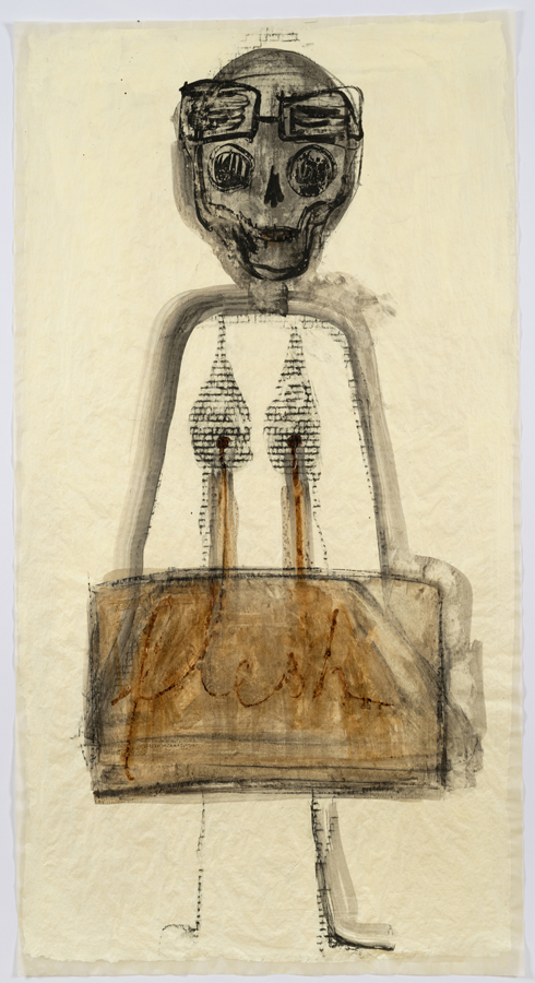 """Mira Schor    """"Power"""" Figure #5: Flesh , 2015  Ink, charcoal and gesso on tracing paper  45 x 24 inches"""