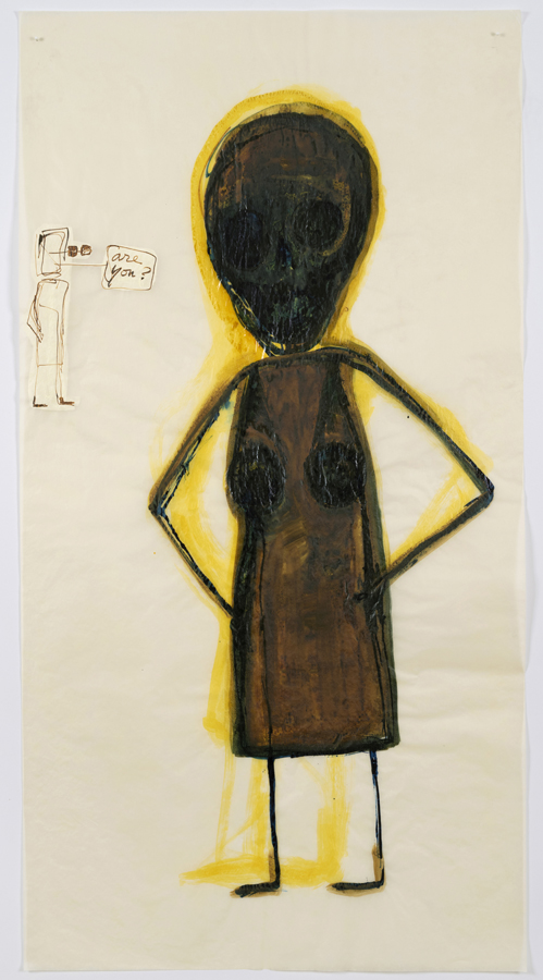 """Mira Schor    """"Power"""" Figure #9: Are You? [yellow], 2015  Ink and gesso on tracing paper  45 x 24 inches"""