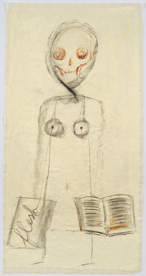 """Mira Schor    """"Power"""" Figure #6: Flesh and Book , 2015  Charcoal, red ink and gesso on tracing paper  45 x 24 inches"""