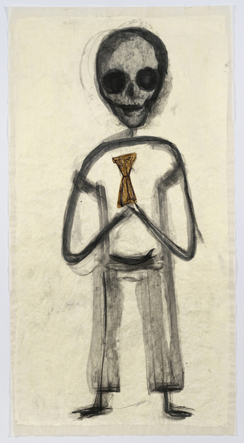 """Mira Schor    """"Power"""" Figure #15: Dear Thing , 2015  Charcoal, ink, and gesso on tracing paper  45 x 24 inches"""