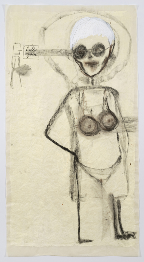 """Mira Schor    """"Power"""" Figure #21: Hello my dear , 2015  Charcoal, acrylic, and gesso on tracing paper  45 x 24 inches"""