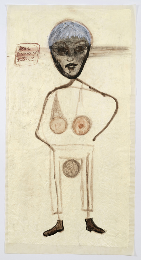 """Mira Schor    """"Power"""" Figure #20: Dear Feminist Activist [white hair, 3 balls], 2015  Charcoal, ink, acrylic, and gesso on tracing paper  45 x 24 inches"""