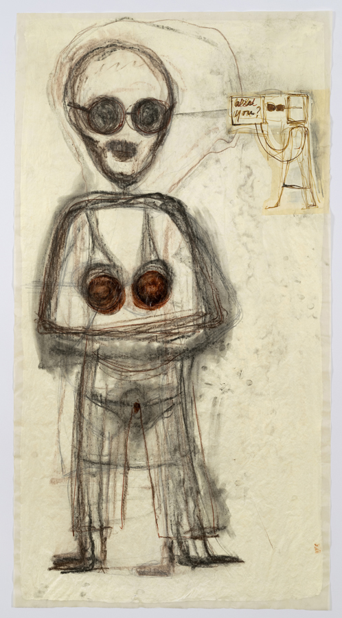 """Mira Schor    """"Power"""" Figure #22: Are You? , 2016  Charcoal, ink, gesso on tracing paper  45 x 24 inches"""