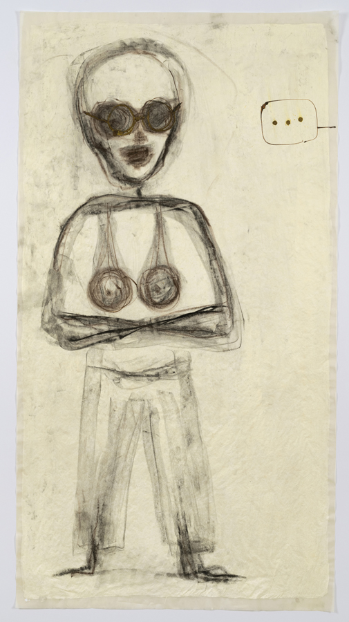 """Mira Schor    """"Power"""" Figure #23: Dot, dot, dot , 2016  Charcoal, ink and gesso on tracing paper  45 x 24 inches"""