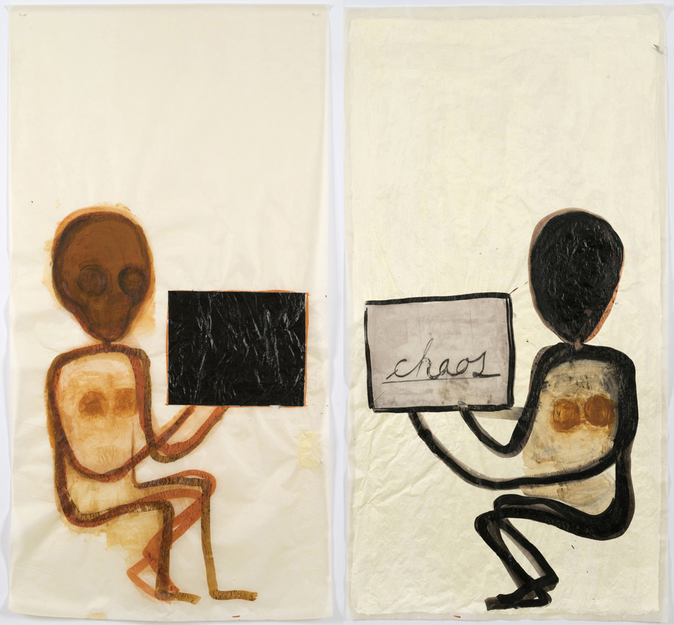 """Mira Schor    """"Power"""" Figure #28 & #29: Double Chaos , 2016  Ink, oil, and gesso on tracing paper  45 x 24 inches each sheet  45 x 48 inches diptych"""