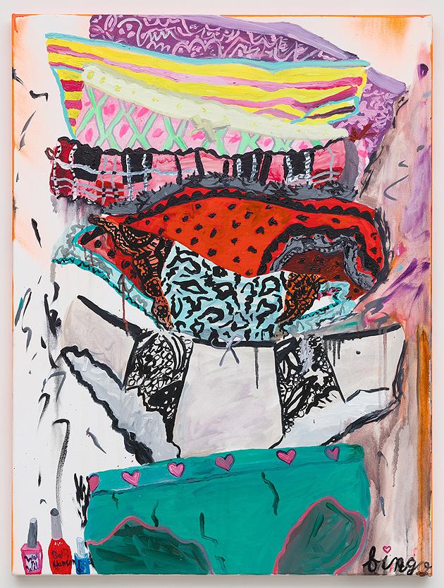 Alicia Gibson    Back Seat Bingo , 2016  Oil on canvas  40 x 30 inches
