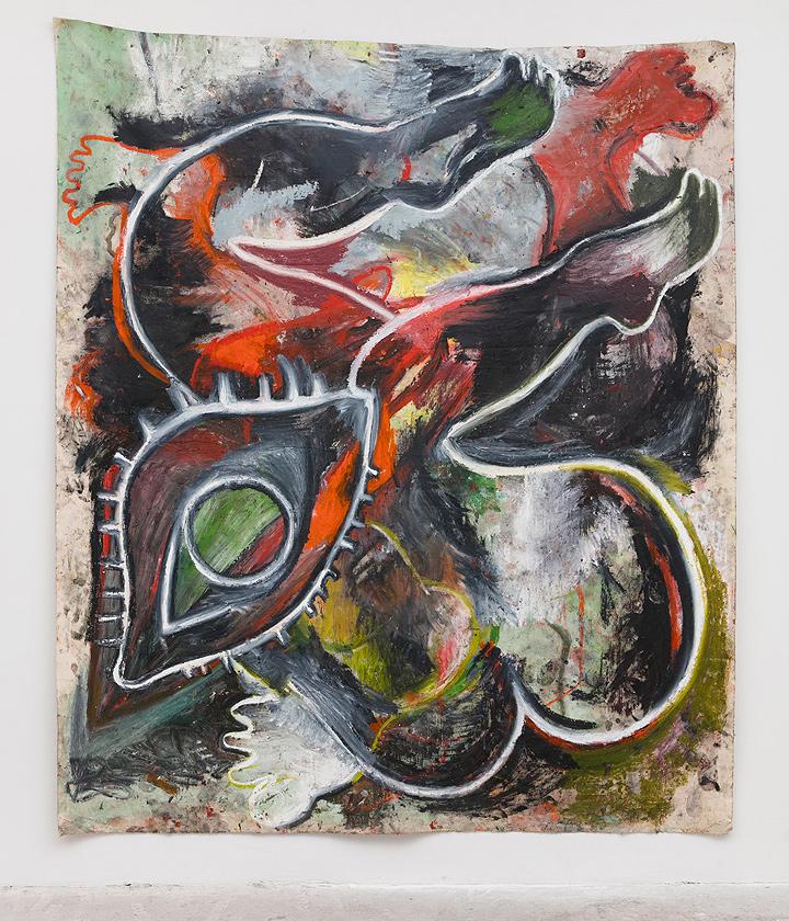 Annette Wehrhahn    EX VOTO (legs, eye, cancer moon) , 2016  Oil on canvas  83 x 72 inches