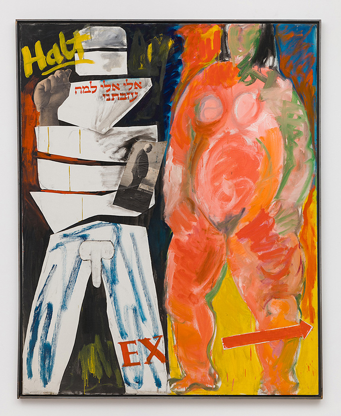 Miriam Laufer    Untitled (Halt, letter with Khrushchev collage), 1965  Oil and collage on canvas  50 x 40 inches