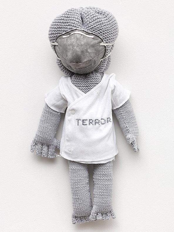 Mimi Smith    Terror , 2010  Knit sculpture, undershirt, thread, dust mask  21 x 14 x 8 inches