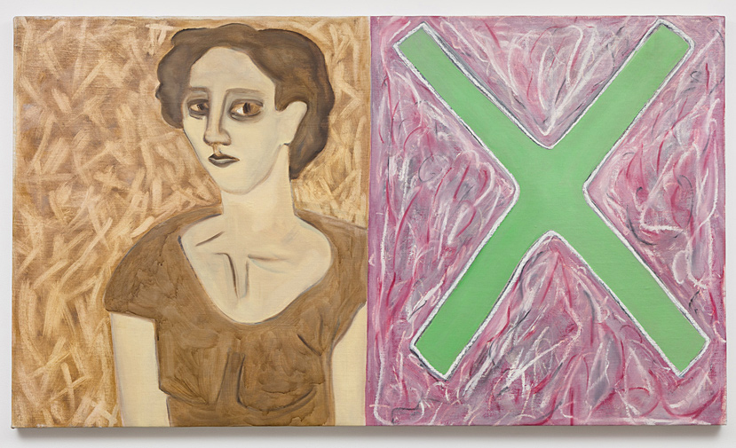 Susan Bee    Madame X , 1984  Oil on canvas  30 x 52 inches