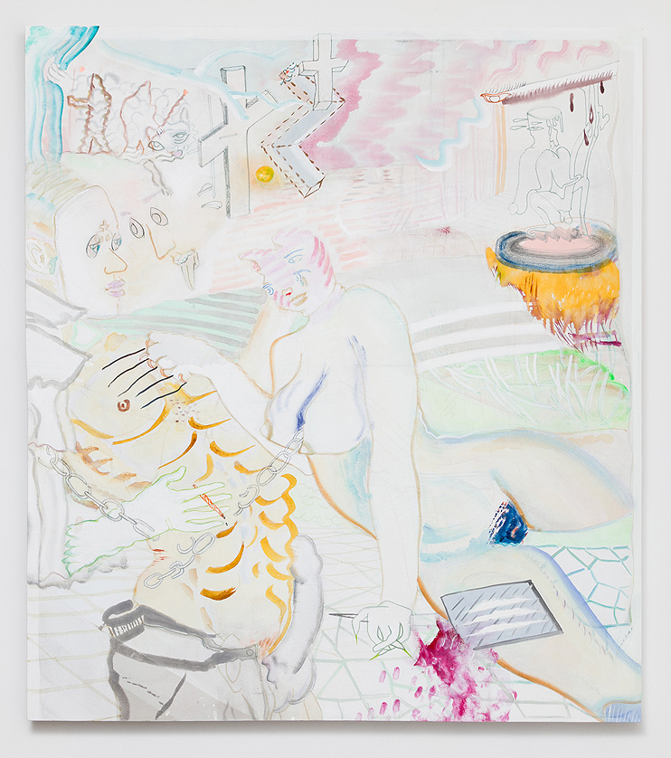 Katrina Fimmel    Sidelands , 2016  Gouache, watercolour, marker, acrylic on canvas  46 x 41 inches