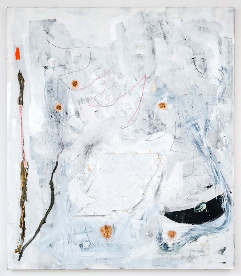 Dan Ivic    DIGIT , 2012-2015  Oil, acrylic, oil stick, styrofoam, spray paint, charcoal, soil, ballpoint pen, gel medium, and collage on canvas  90 x 78 inches
