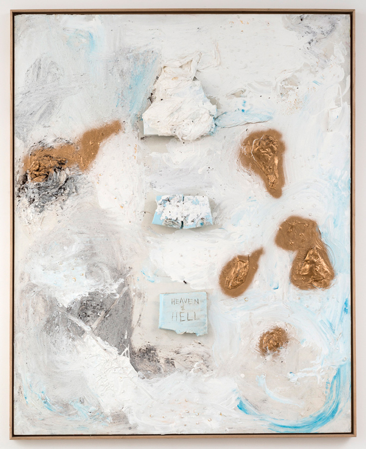 Dan Ivic    HEAVEN & HELL , 2012-2015  Oil, acrylic, latex, gesso, styrofoam, collage, gel medium, spray paint, and ballpoint pen on canvas with artist's frame  60 x 48 inches