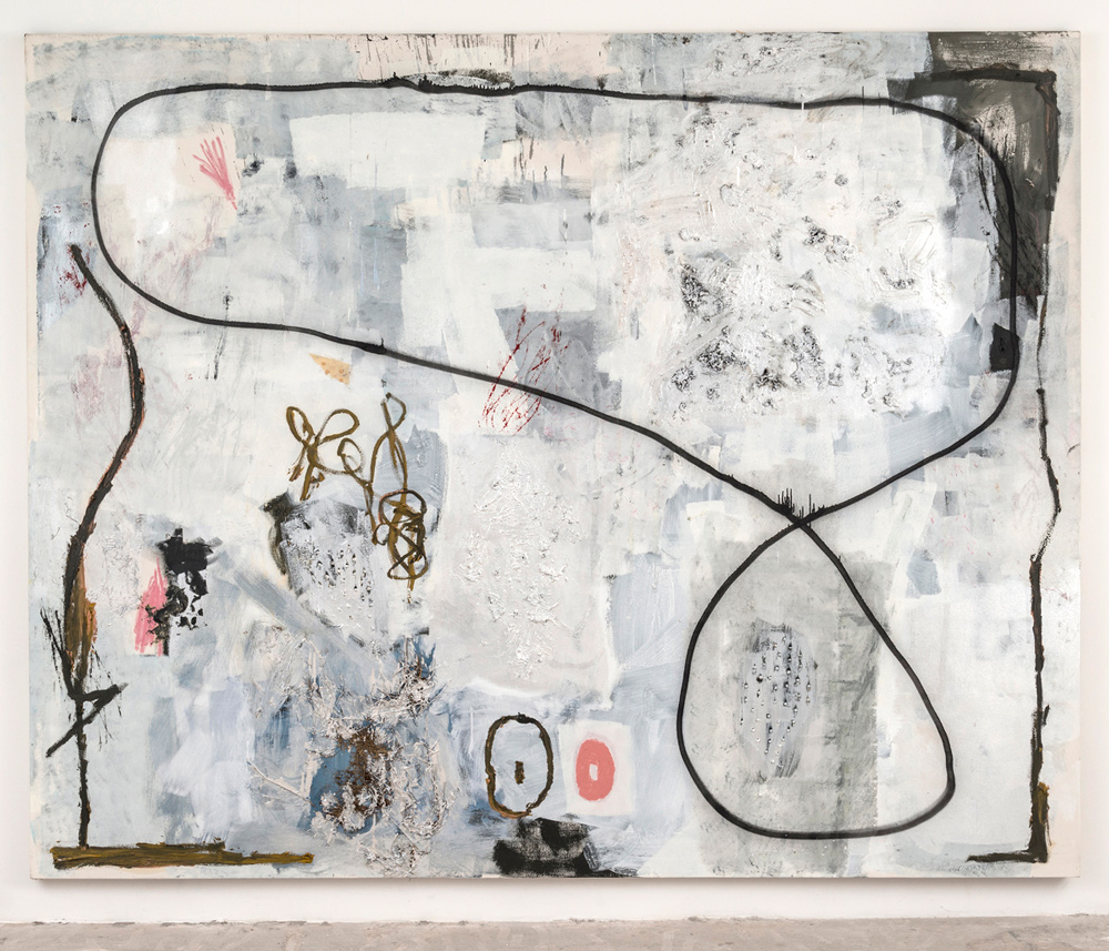 Dan Ivic    PANDORA , 2012-2015  Oil, acrylic, grass, soil, oil stick, spray paint, pencil, charcoal, gel medium, and collage on canvas  96 x 120 inches