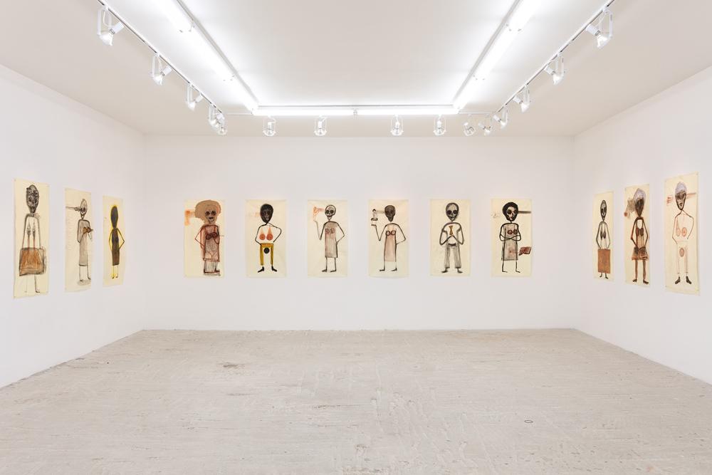 "Mira Schor   ""Power"" Figures , 2016  Installation view at Lyles & King"
