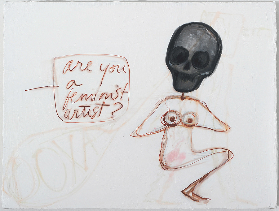Mira Schor   Are You a Feminist Artist? , 2015  Ink, acrylic, on gesso on linen  12 x 16 inches