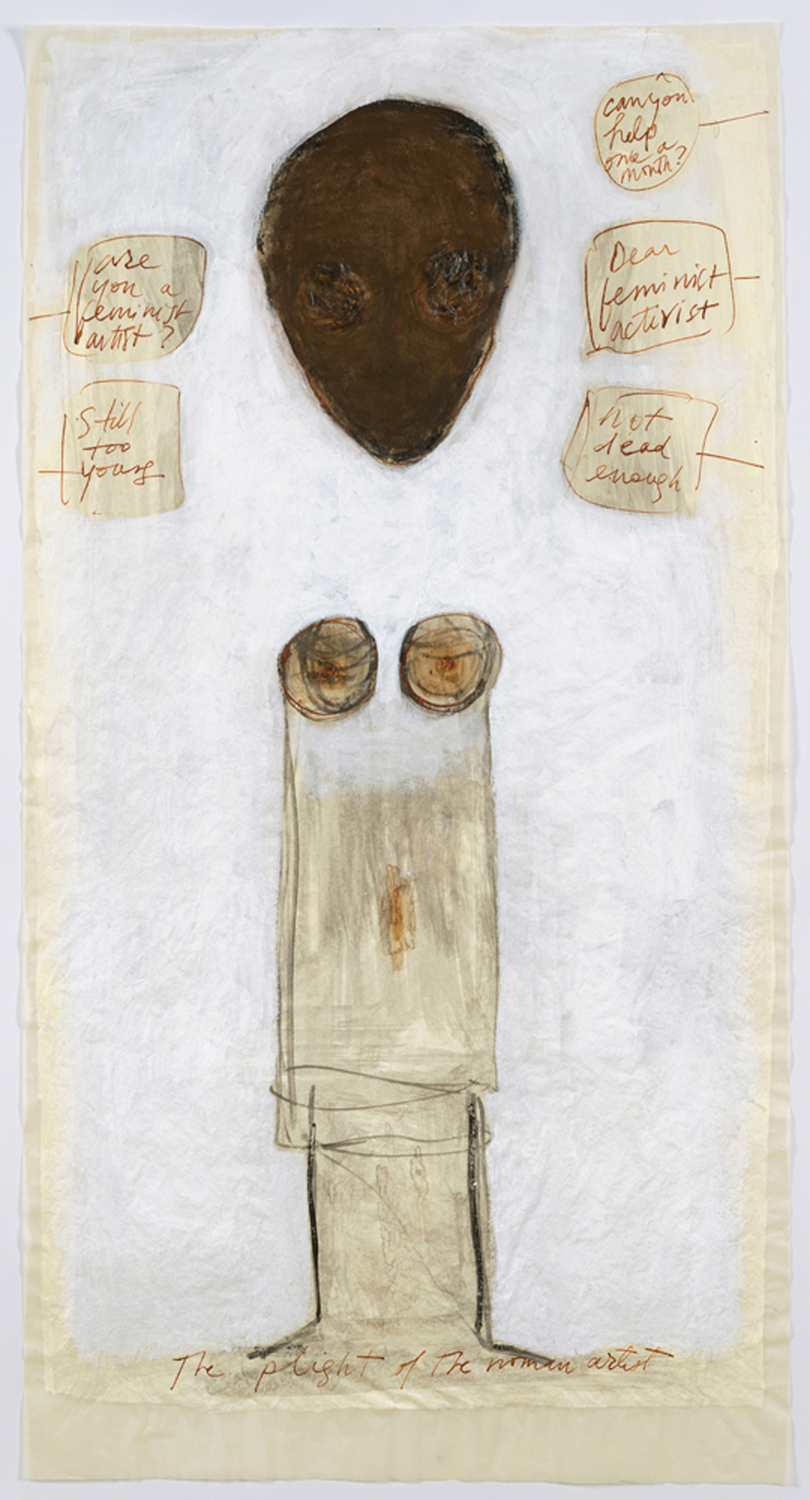 """Mira Schor   """"Power"""" Figure #7: Still Too Young, Not Dead Enough , 2015  Pastel, ink, and gesso on tracing paper  45 x 24 inches"""