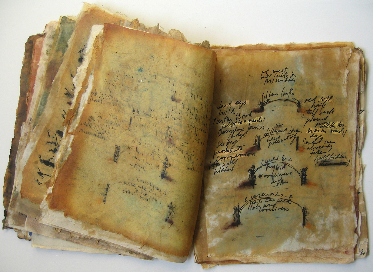 Mira Schor   Book of Pages , 1976  Mixed media on rice paper  12 x 20 x 1 inches