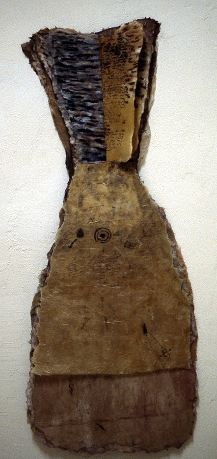 Mira Schor   Dress Book , 1977  Mixed media on rice paper  57 x 24 inches  Verso