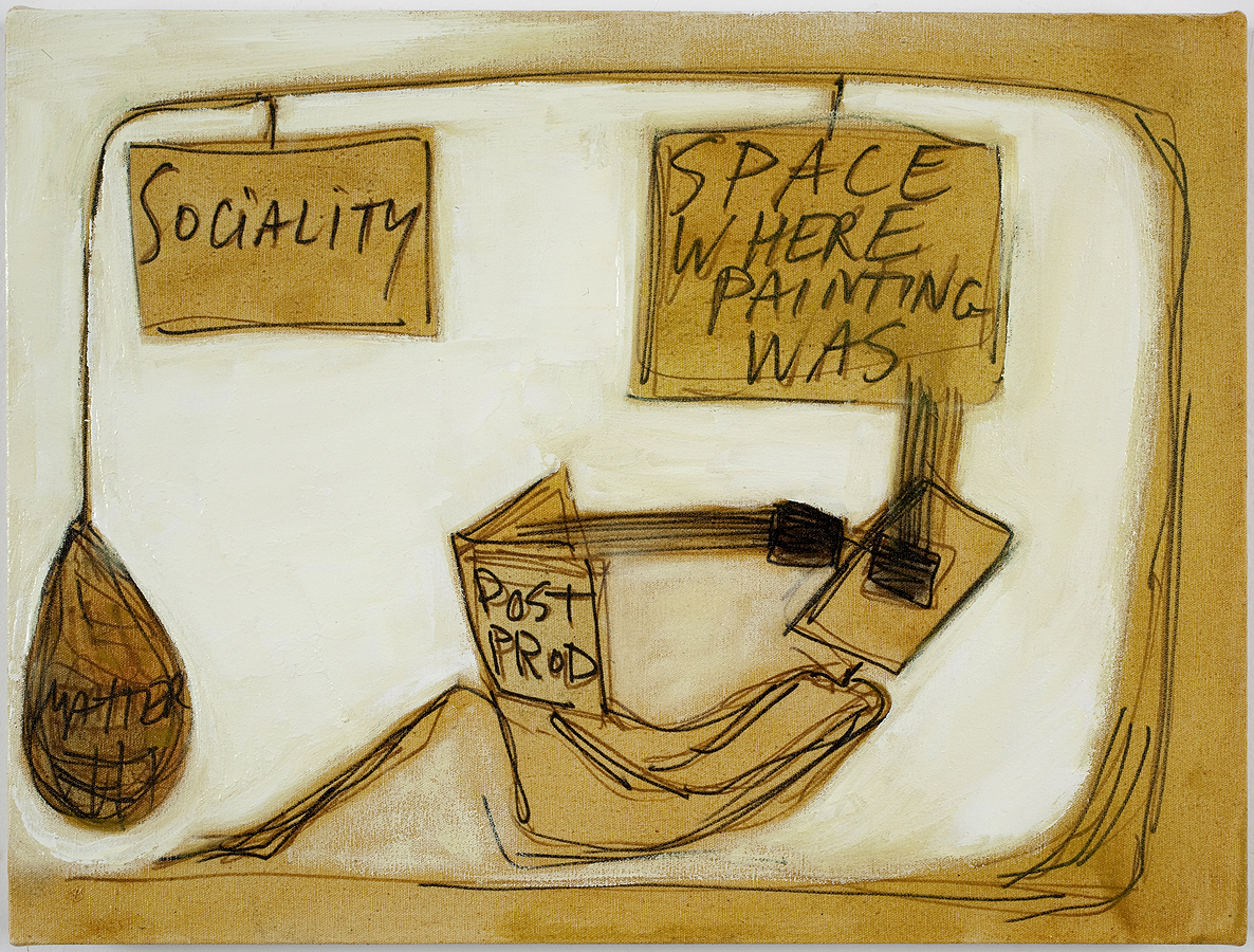 Mira Schor   The Space Where Painting Was , 2010  Ink, pen, and oil on white linen  12 x 16 inches