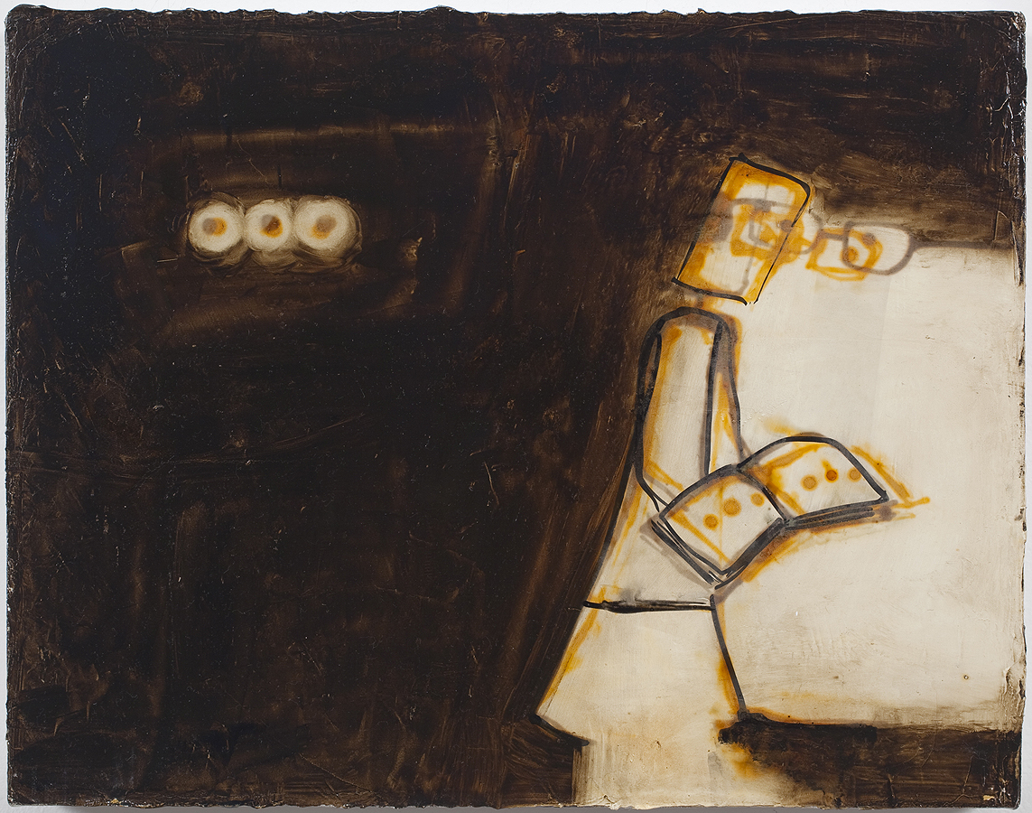 Mira Schor   Three Periods , 2010  Oil and ink on gesso on linen  14 x 18 inches