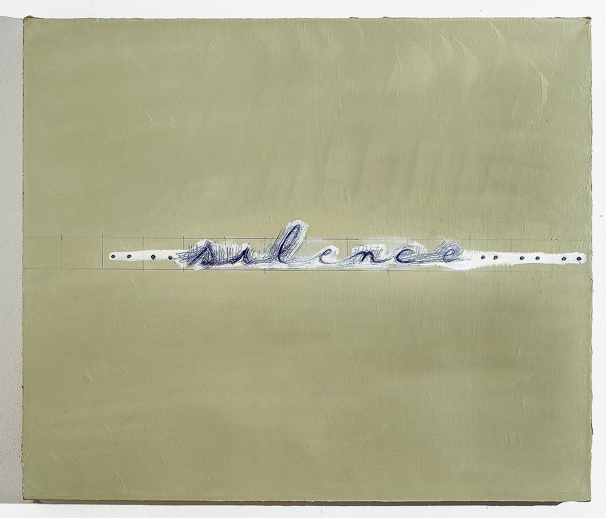 Mira Schor   Silence , 2006  Oil and ballpoint pen on linen  24 x 26 inches