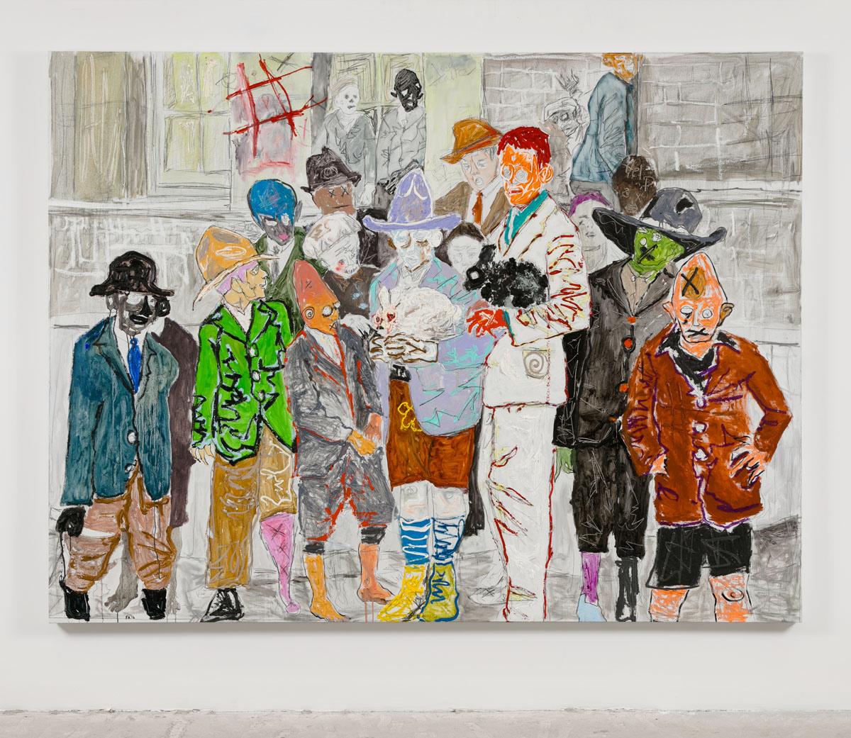 Farley Aguilar   Boy School , 2016  Oil on linen  67 x 88.5 inches