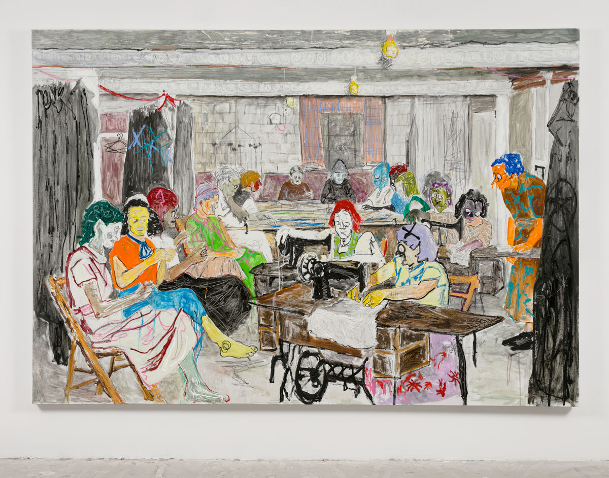 Farley Aguilar   Women Sewing , 2016  Oil on linen  75 x 109 inches