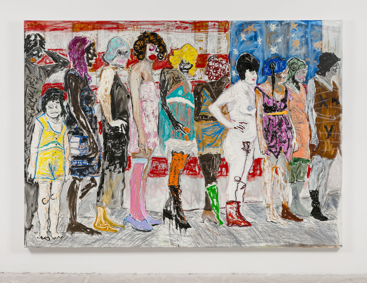 Farley Aguilar   Women in Line , 2016  Oil on linen  71.5 x 100 inches