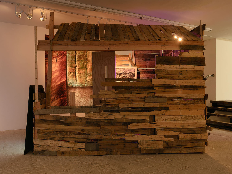 Yves Scherer    Church , 2017  Wood, hemp, thread, bricks, candles, goldleaf  122 x 100 x 100 inches