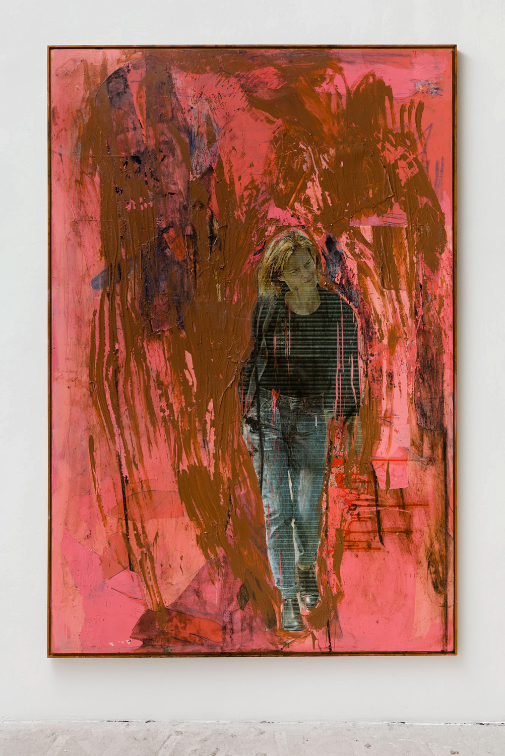 ves Scherer    Emma (Virgen de Guadalupe) , 2017  Acrylic paint, resin, photograph, dirt, varnish on perspex  62.5 x 47.25 inches