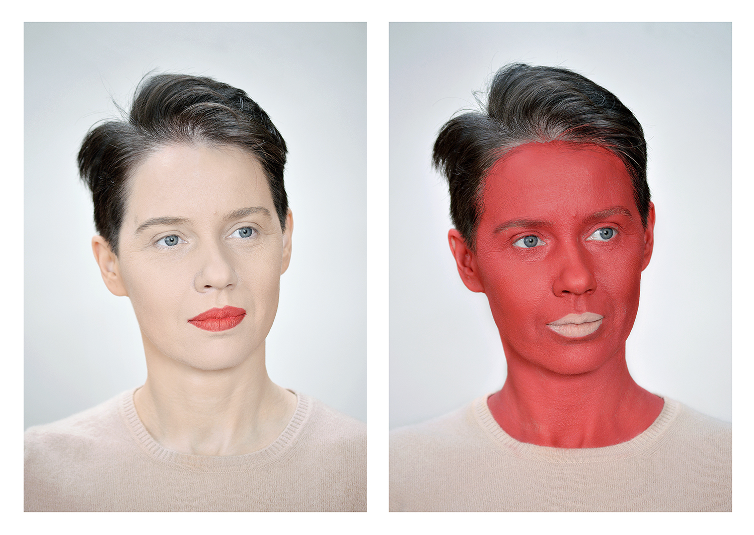 Aneta Grzeszykowska   Negative Make-Up (Red) , 2016  Diptych  Pigment ink on cotton paper  100 x 70 cm each