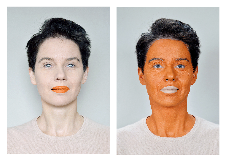 Aneta Grzeszykowska   Negative Make-Up (Orange) , 2016  Diptych  Pigment ink on cotton paper  100 x 70 cm each