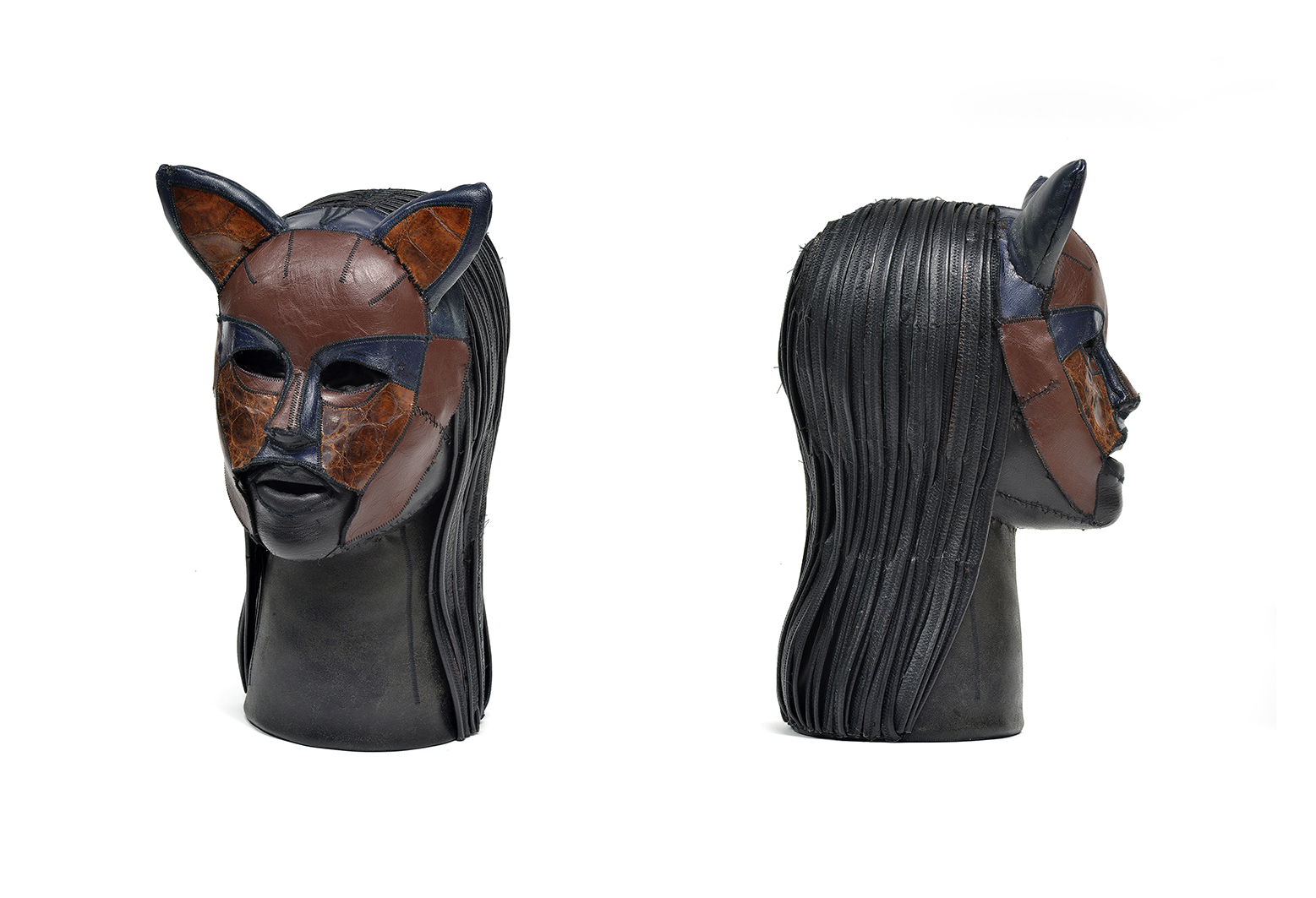 Aneta Grzeszykowska   Skin Head #2 , 2016  Leather, filling  40 x 25 x 20 cm