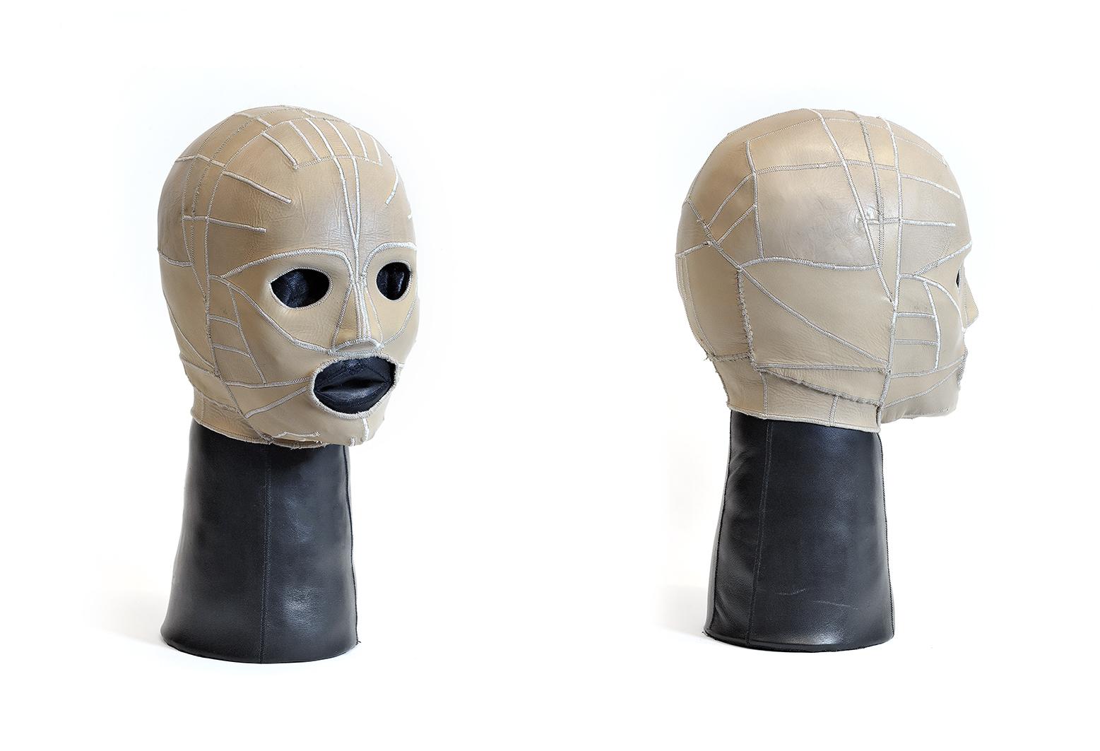 Aneta Grzeszykowska   Skin Head #6 , 2016  Leather, filling  39 x 22 x 17 cm