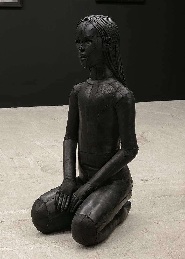 Aneta Grzeszykowska   Untitled (Skin Doll) , 2016  Natural leather, stuffing, metal  40 x 54 x 100 cm  15.75 x 21.25 x 39.37 inches