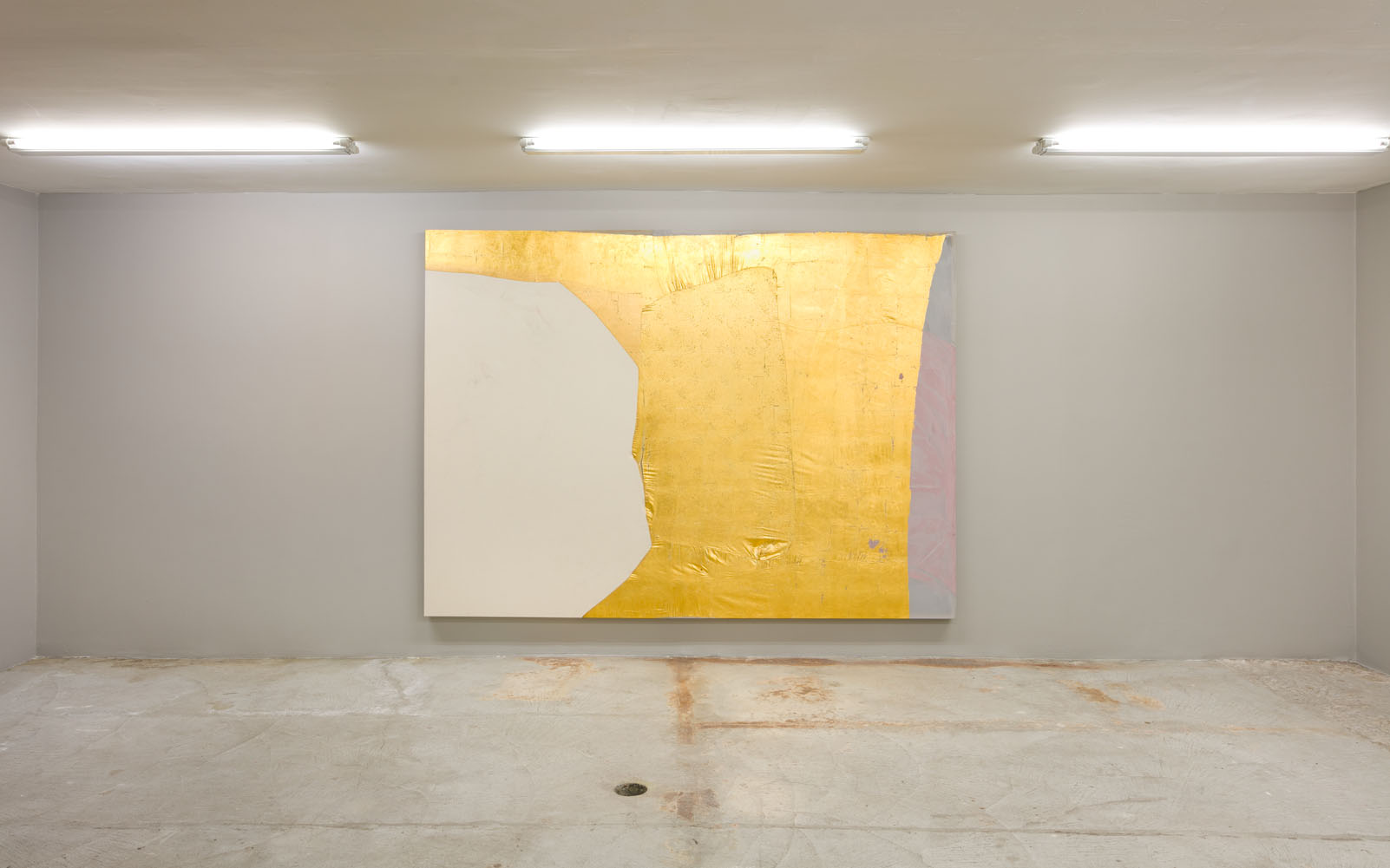 Erica Mahinay   Gilded (Border-Patrol) , 2016  Acrylic on treated fabric, gold leaf, canvas  70 x 96 inches