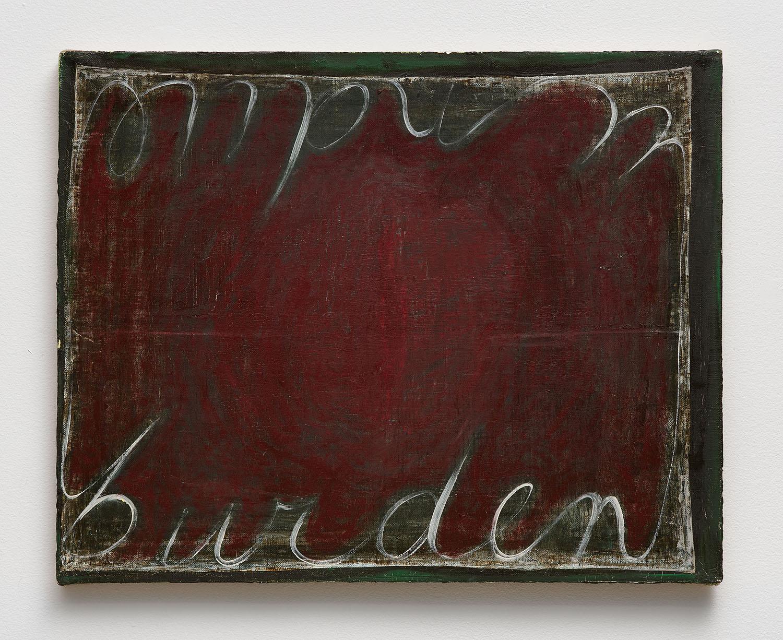 Mira Schor   Undue Burden , 1989  Oil on linen  16 x 20 inches
