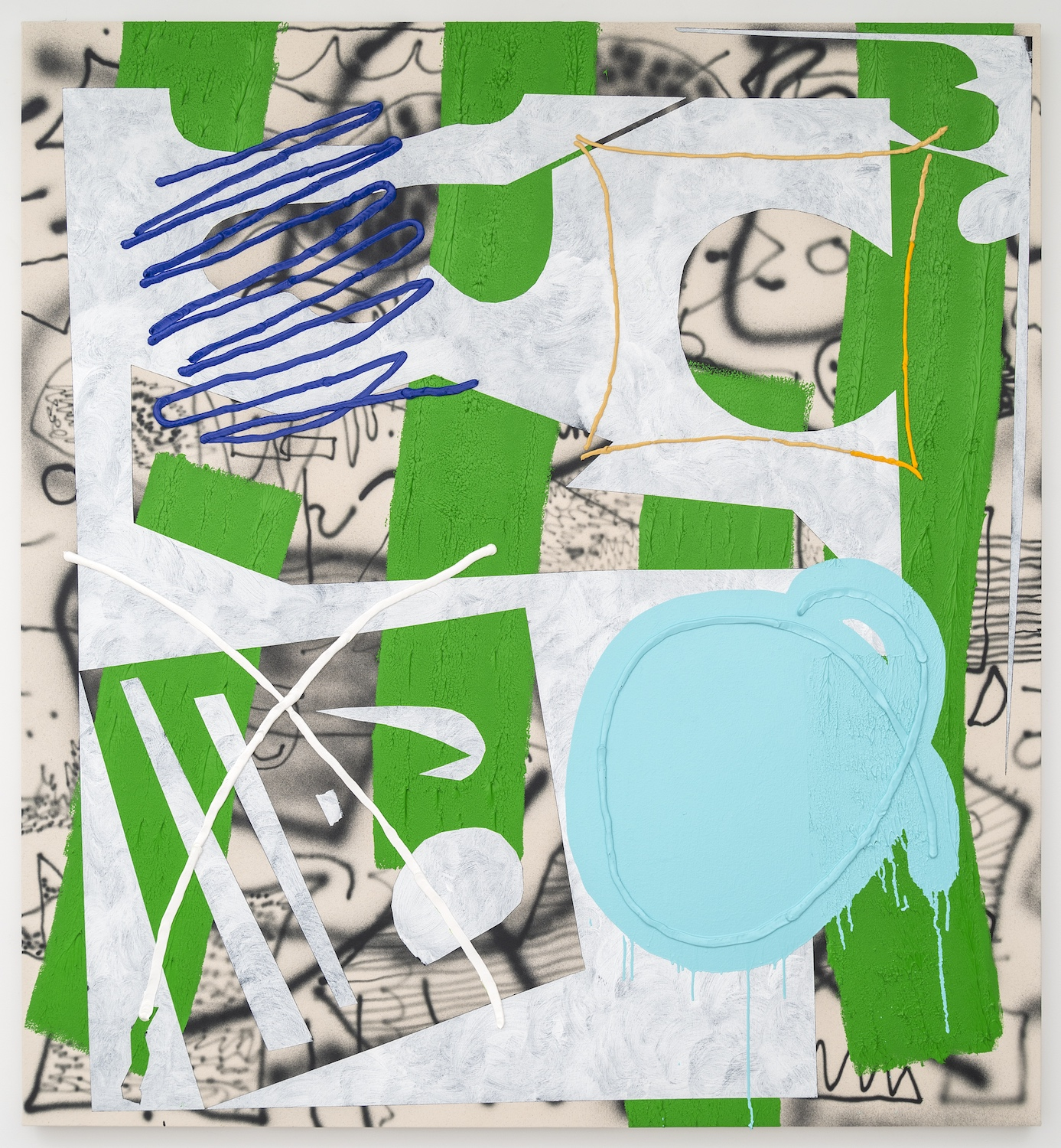 Trudy Benson   Blue Selection , 2015  Acrylic, enamel, and oil on canvas  66 x 61 inches
