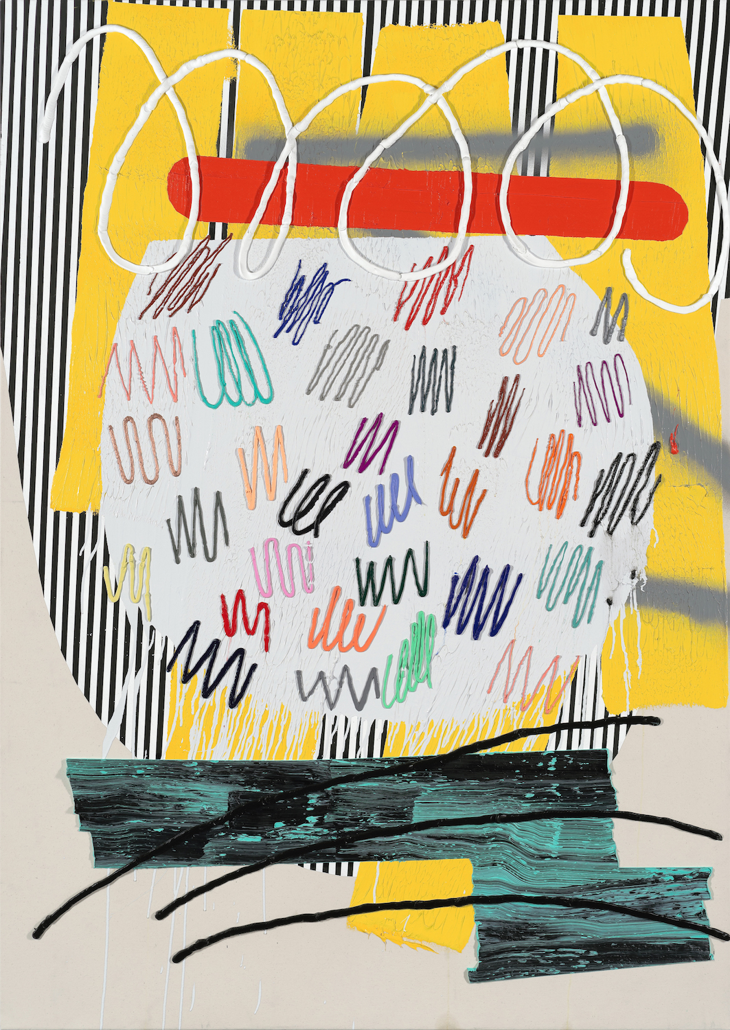 Trudy Benson   Scratchpad , 2014  Acrylic, enamel, and oil on canvas  76 x 54 inches