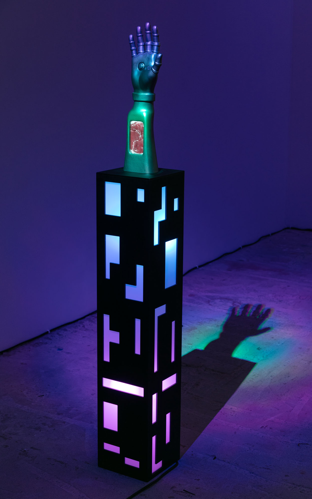 Phillip Birch   The Arm of Shevak , 2017  Plexiglass, LED lights, 3D printed plastic, painted enamel  58 x 8 x8 inches  Unique
