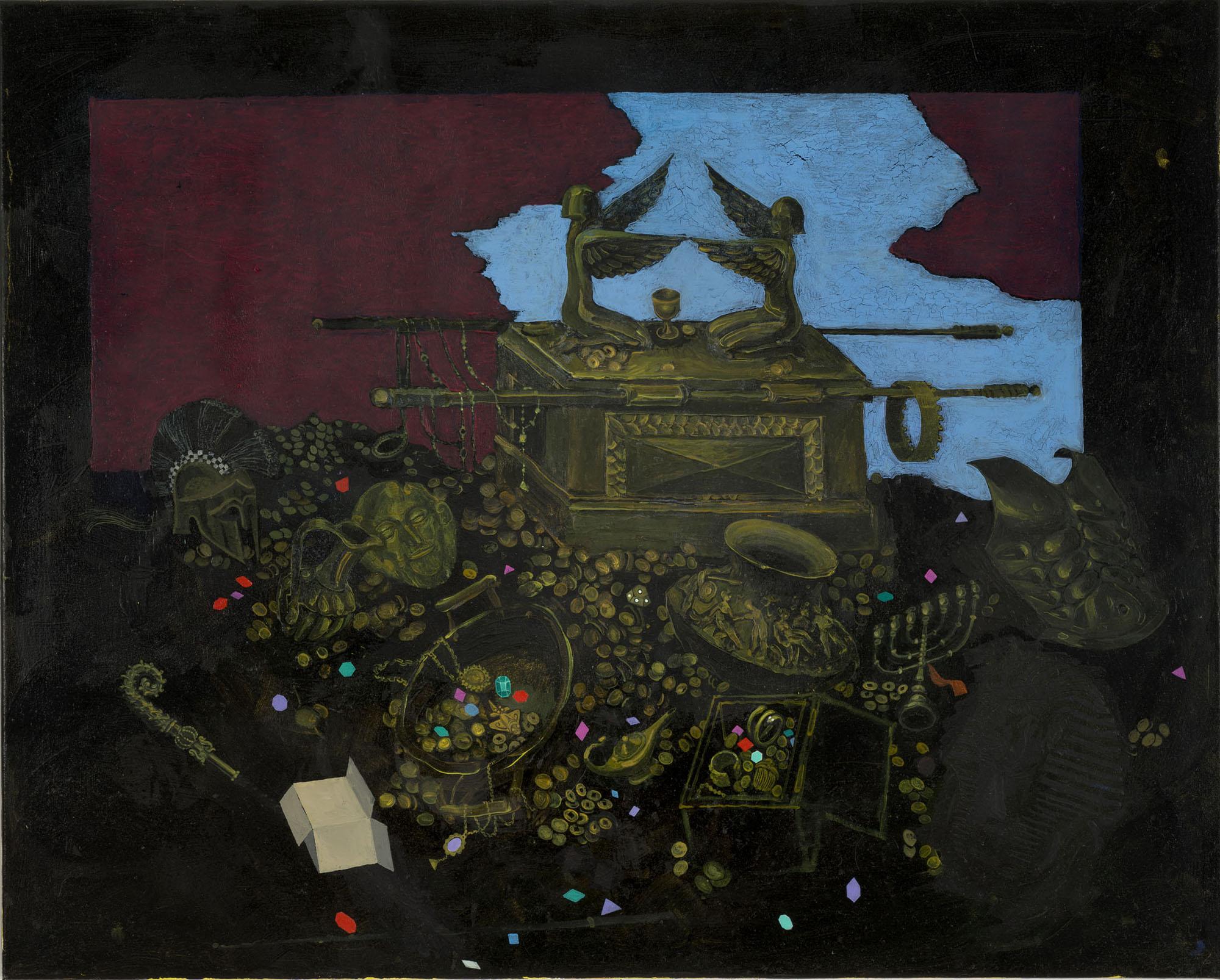 Mi Kafchin   Treasures in the Dark , 2017  Oil on canvas  80.2 x 100 cm  31.5 x 39.5 inches