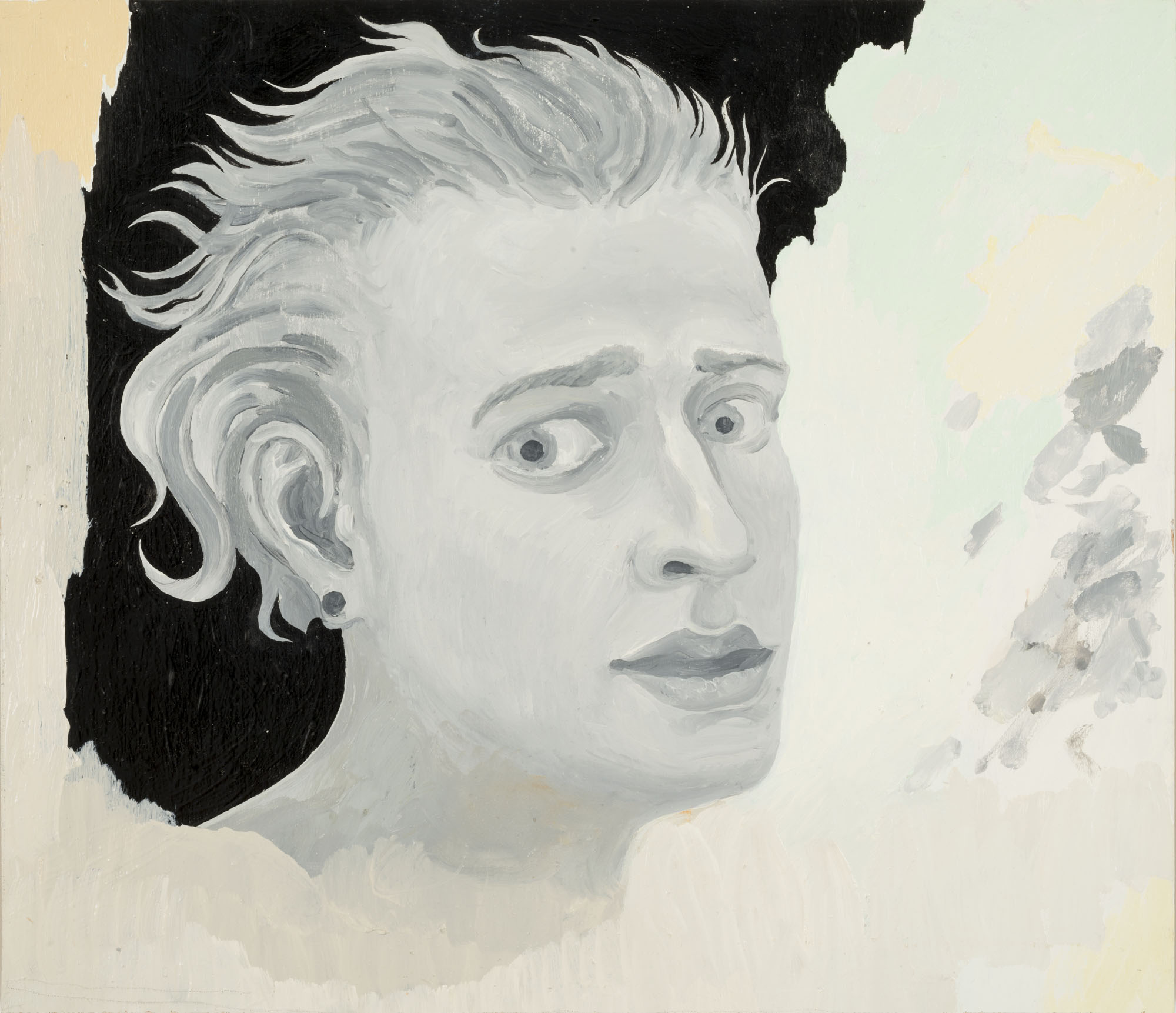 Mi Kafchin   Scared Self Portrait , 2017  Oil on wood  38 x 44 cm  15 x 17.5 inches