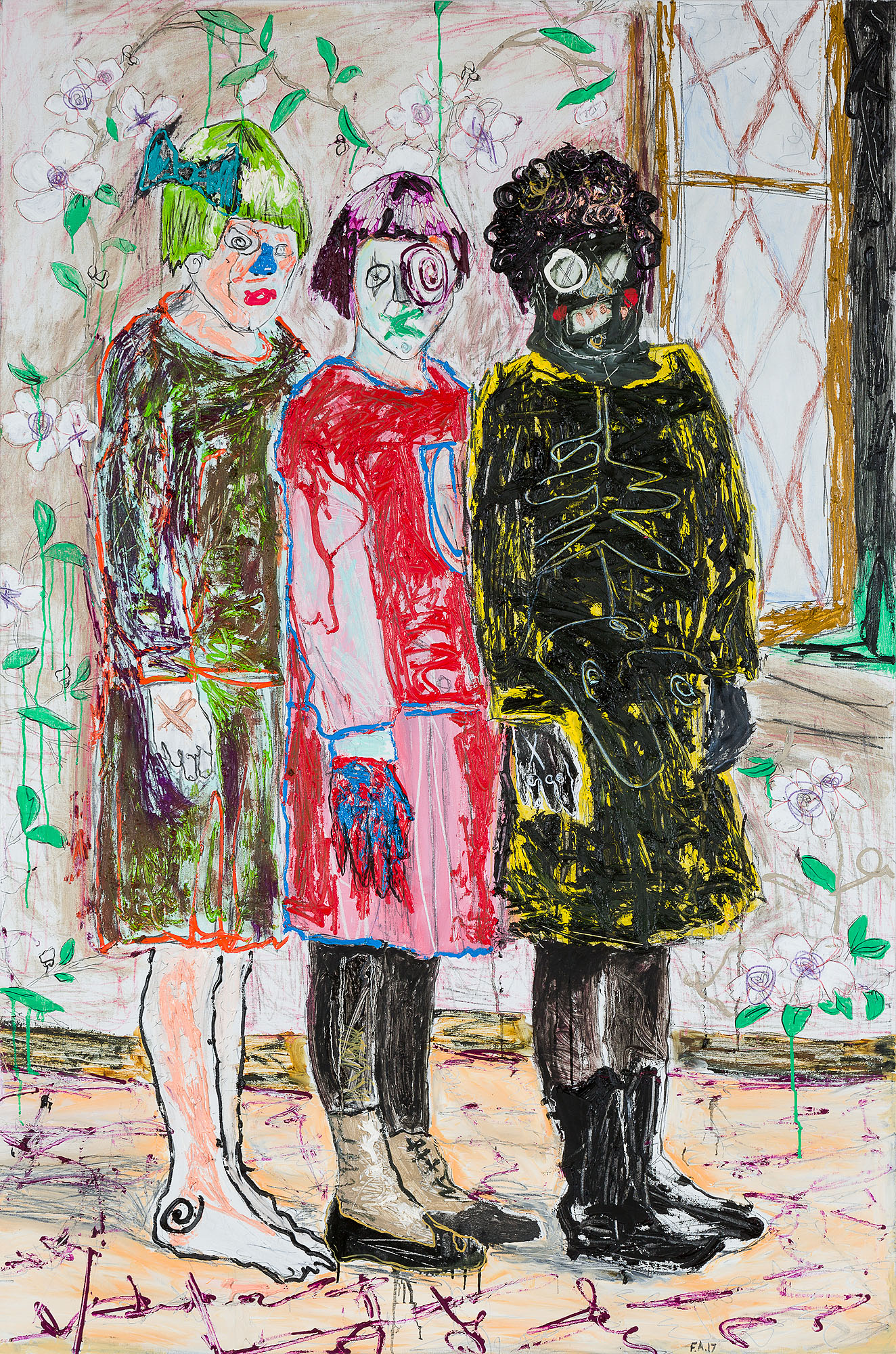 Farley Aguilar   Three Girls , 2017  Oil on linen  71.5 x 47 inches