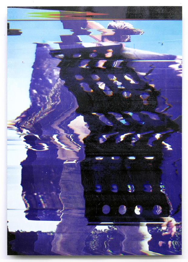 Chris Dorland   Untitled (Body Degree Zero) , 2017  UV ink on Dibond, aluminum frame  26 x 18 inches