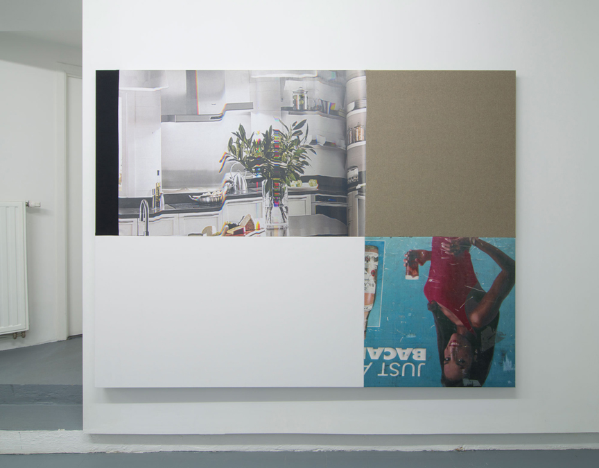 Chris Dorland   Untitled (Debt Economy/Ratchet Straps) ,2016  Ultrachrome ink, gesso, canvas, linen, cotton, and UV gel on stretcher bars  60 x 80 inches