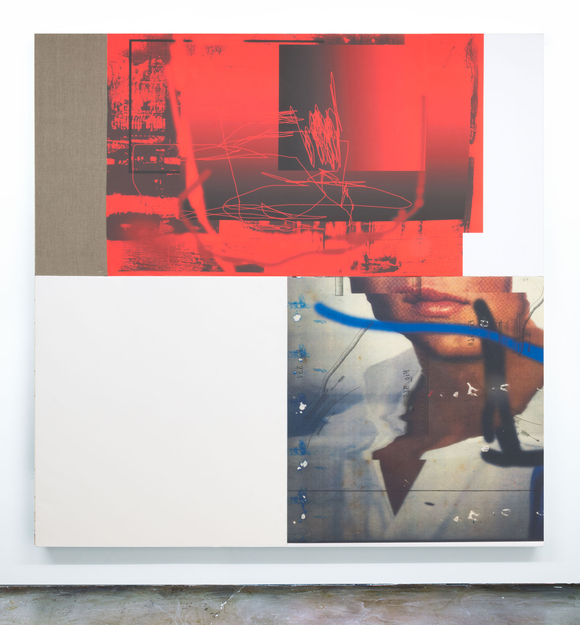 Chris Dorland   Untitled (Soft Power) , 2016  Ultrachrome ink, gesso, canvas, linen, cotton, and UV gel on stretcher bars  78 x 78 inches