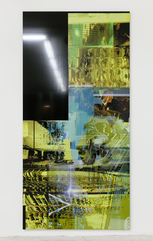 Chris Dorland   Untitled (Apache Struts) , 2017  UV Ink on Alumacore  94 x 46 inches