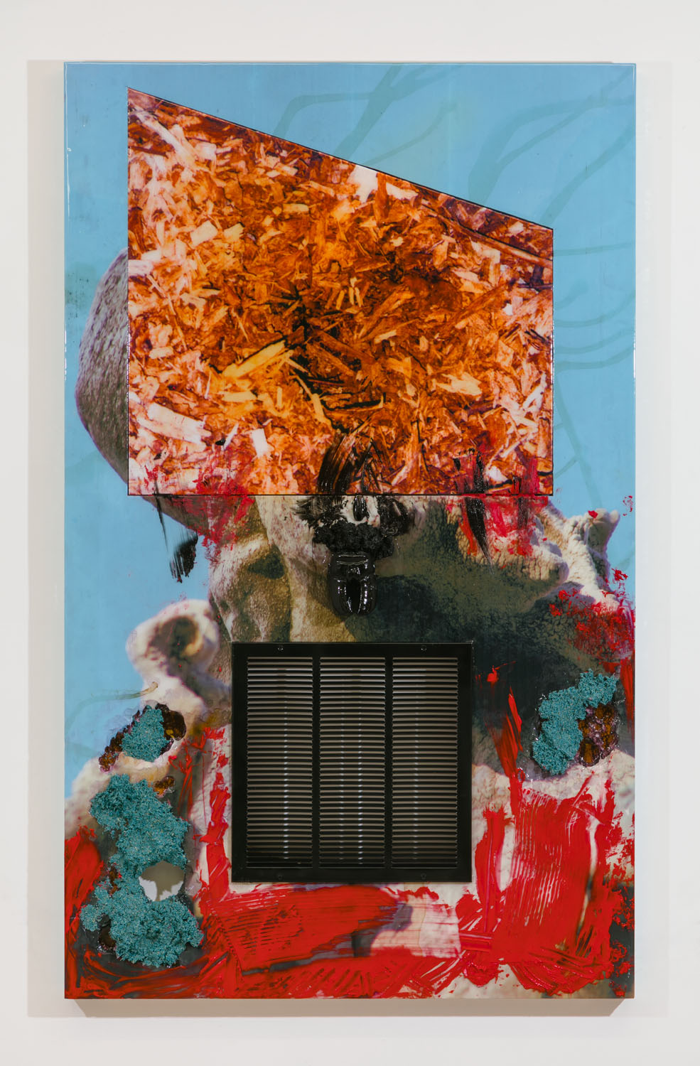 Borden Capalino   Eric the Trojan (Tarantula) , 2018  UV print, air vent, beef hoof, clothing hook, soil, grass sed, acrylic polymer, enamel, silicone, and resin on polystyrene, wood, and Sintra  77 x 47 x 5.25 inches