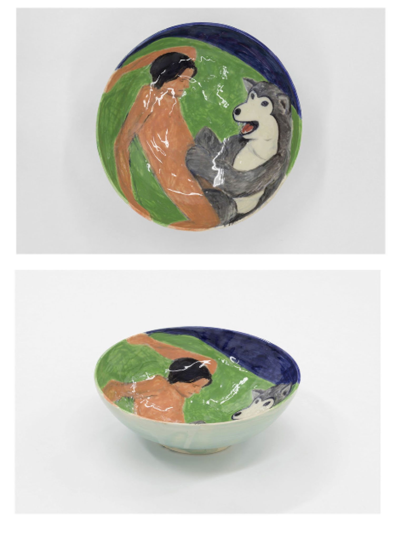 Urara Tsuchiya   Furries , 2016  Glazed stoneware bowl  Dimensions variable